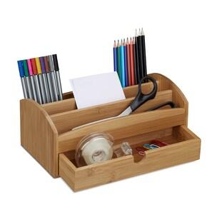 Relaxdays Schreibtischorganizer Bambus Schublade