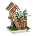 Relaxdays Holz Blumentopf mit Vogelhaus