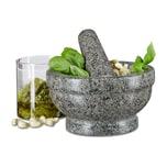 Relaxdays Granit Mörser mit Stößel 17 cm