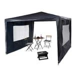 Relaxdays Pavillon 3x3 m mit 2 Seitenteilen