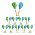 Relaxdays 20 x Maracas Holz grün/blau