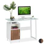 Relaxdays Schreibtisch mit Glasplatte