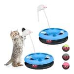 Relaxdays 2 x Katzenspielzeug mit Maus blau