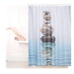 Relaxdays Duschvorhang Steine auf Wasser 180x180cm