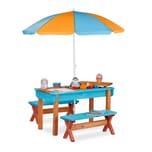 Relaxdays Kindersitzgruppe Garten mit Sonnenschirm