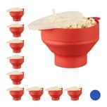 Relaxdays 10 x Popcorn Maker Silikon rot