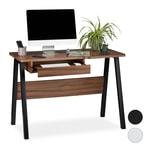 Relaxdays Moderner Schreibtisch mit Tastaturauzug