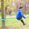 Relaxdays Slackline 15m Set mit Baumschutz