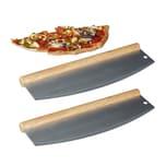 Relaxdays 2 x Pizza Wiegemesser aus Edelstahl