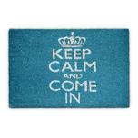 Relaxdays Fußmatte Keep Calm Kokos blau 40x60 cm