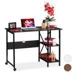 Relaxdays Schreibtisch klappbar mit Ablagen
