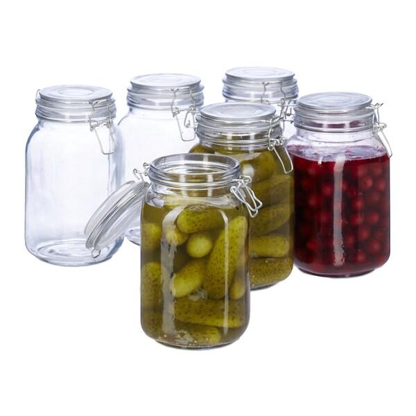 Relaxdays Einmachglas 1,5 L, 6er-Set