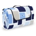 Relaxdays Picknickdecke Muster blau