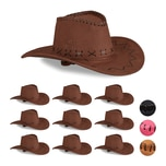 Relaxdays 10 x Cowboyhut Fasching dunkelbraun