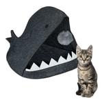 Relaxdays Katzenhöhle Filz Haifisch