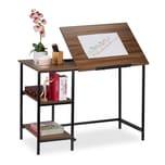 Relaxdays Schreibtisch neigbar mit 3 Ablagen
