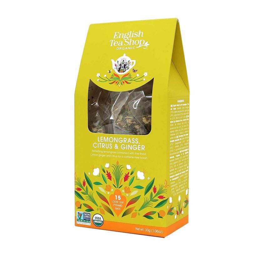 English Tea Shop Lemongras Ingwer & Zitrusfrüchte Bio 15 Pyramiden Beutel in Papierbox