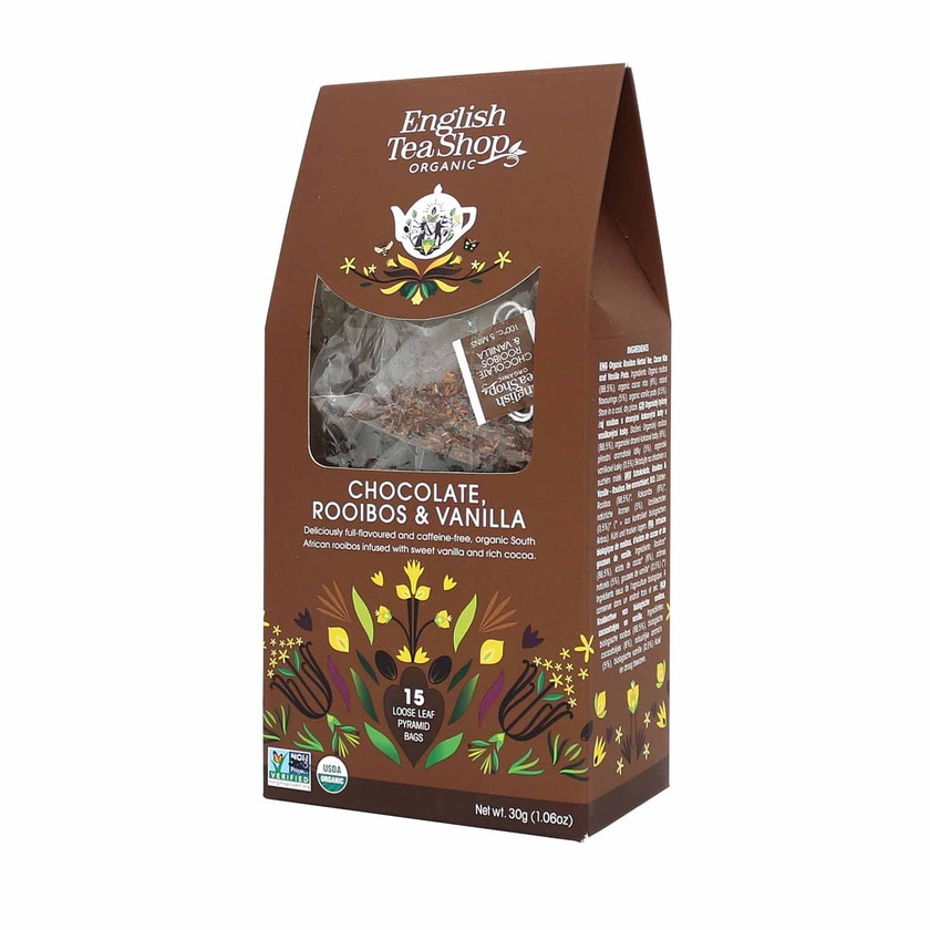 English Tea Shop Schokolade Rooibos & Vanille Bio 15 Pyramiden Beutel in Papierbox