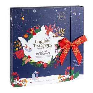 English Tea Shop - Teebuch Adventskalender mit Schleife Christmas Night, 25 Boxen mit BIO-Tees in hochwertigen Pyramiden-Teebeuteln