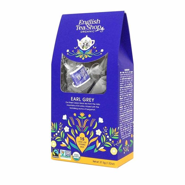 English Tea Shop Earl Grey Bio Fairtrade 15 Pyramiden Beutel in Papierbox