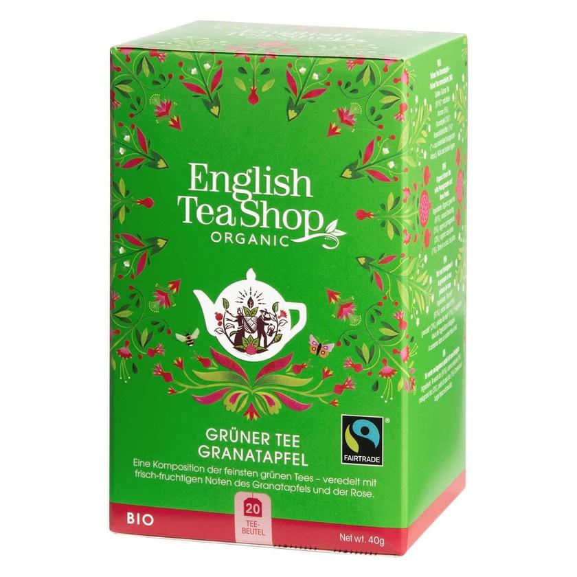 English Tea Shop Grüner Tee Granatapfel Bio Fairtrade 20 Teebeutel