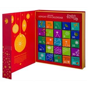 English Tea Shop - Tee Adventskalender Teebuch Rot, 25 einzelne Boxen mit BIO-Tees in hochwertigen Pyramiden-Teebeutel