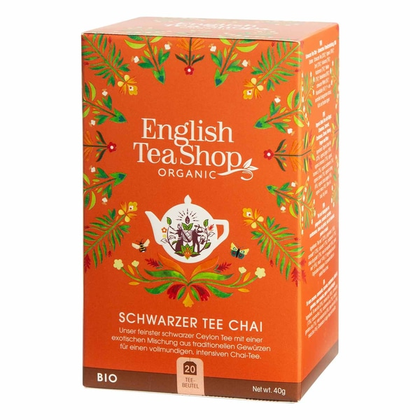 English Tea Shop Schwarzer Tee Chai Bio 20 Teebeutel
