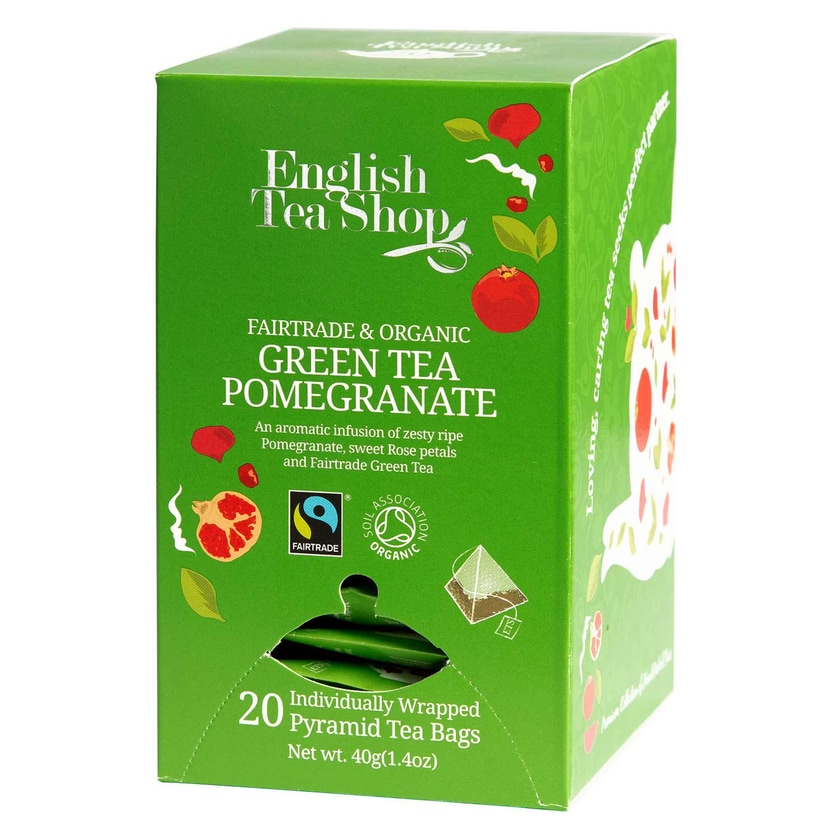English Tea Shop Grüner Tee Granatapfel Bio Fairtrade 20 Pyramiden Beutel einzeln kuvertiert