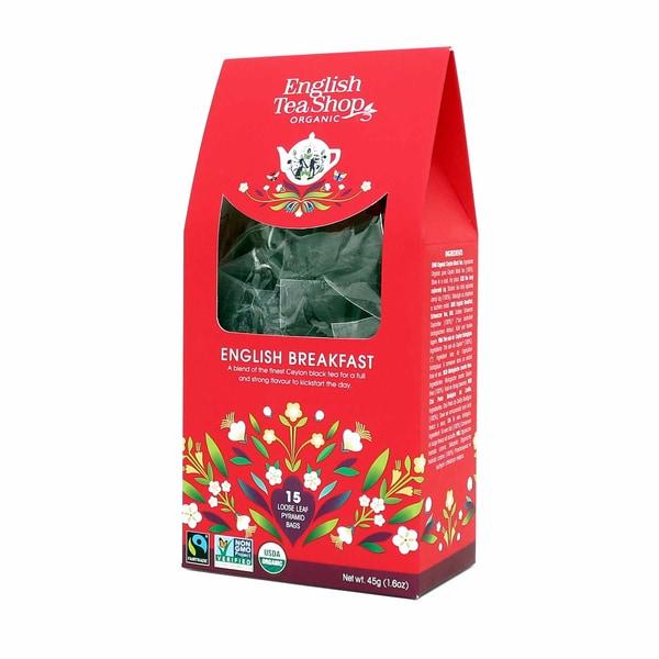 English Tea Shop English Breakfast Bio Fairtrade 15 Pyramiden Beutel in Papierbox