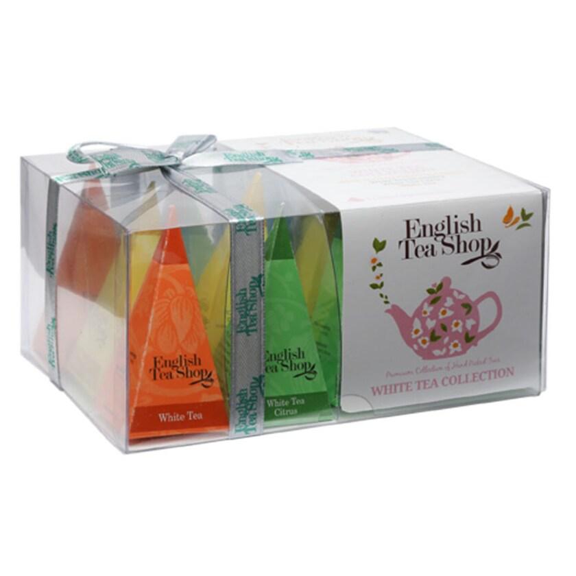 English Tea Shop Weißer Tee Kollektion Bio Teegeschenk mit Schleife 12 Pyramiden Beutel