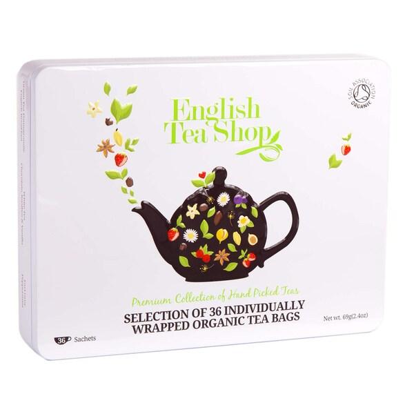 English Tea Shop Classic Selection,Tee Geschenkbox aus Metall mit 36 Bio Tees