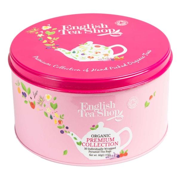 English Tea Shop Premium Tea Selection Pink Runde Tee Geschenkdose aus Metall mit 30 Bio Tees in Pyramidenbeutel
