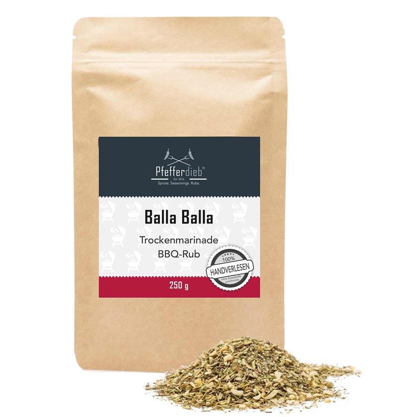 Pfefferdieb Balla Balla Premium Grillgewürz Trockenmarinade BBQ Rub mediterran 250g