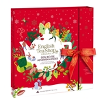 English Tea Shop - Premium Tee Adventskalender mit Schleife Red Christmas, 25 BIO Tees in Teepyramiden