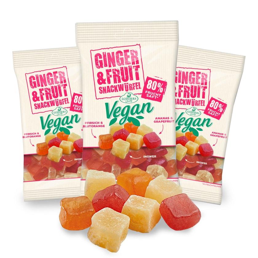LÜHDERS - Ginger&Fruit, veganer Ingwer-Frucht-Snack (3er Set) je 80g
