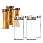 BigDean Vorratsgläser 4x 2,2 Liter Set Glas Schraubglas Lebensmittelglas Edelstahldeckel Schraubverschluss 27 x 11 cm Spagettiglas Vorratsglas