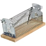 BigDean Lebendfalle für Mäuse & Ratten - Tierfreundliche Version 2.0 mit Schwanzschutz - Draht-Kastenfalle aus Metall & Holz