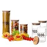 BigDean 3x Vorratsglas 1 Liter Bambusdeckel Glas 1000 ml Aufbewahrungsglas Lebensmittelglas Steckdeckel mit Dichtung
