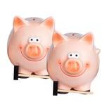 BigDean 2x Jumbo XXL Sparschwein mit Hammer für Münzen & Scheine Spardose Schwein Glücksschwein Jumbo 22 x 28 x 18 cm