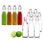BigDean 8x Glasflasche 500ml Bügelverschluss Milchflasche Saftflasche Ölflasche Bügelverschlussflasche