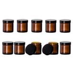 BigDean 10x Braunglastiegel 60 ml 5,5 x 5 cm- Aus Braunglas - Mit Deckel - Salbentiegel, Cremetiegel, Apothekerglas