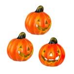BigDean 3er Set Halloween-Kürbis Windlicht - HxD: ca. 10x11 cm - Zierkürbis als Herbstdeko - Aus Keramik - Mit Öffnung für Teelichter - Mottoparty-Deko