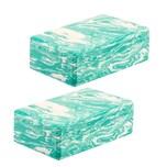 BigDean 2er Set Yogablöcke grün-weiß marmoriert - aus stabilem EVA-Schaumstoff - 100 g leicht - Yoga-Klotz Yoga-Block - Zubehör für Fitness, Yoga, Pilates