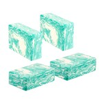 BigDean 4er Set Yogablöcke grün-weiß marmoriert - aus stabilem EVA-Schaumstoff - 100 g leicht - Yoga-Klotz Yoga-Block - Zubehör für Fitness, Yoga, Pilates