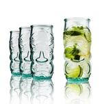BigDean Trinkgläser im Tikki-Look Hawaii-Design 550ml 4er Set aus 100% Recyclingglas Partygläser für Longdrinks