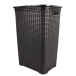 BigDean Wäschebox in Flechtoptik Wäschekorb Wäschetonne Wäschetruhe Wäschesammler mit Deckel aus Plastik anthrazit grau 65 Liter