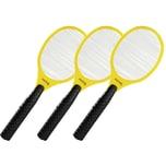 Foetsil 3x Elektrische Fliegenklatsche Gelb Insektenvernichter Fliegenschläger