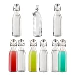 BigDean 9x 12-Kant Glasflasche mit Bügelverschluss 500 ml - Draht-Bügelflasche zum Einkochen - Mit Gummidichtung luftdicht - Made in Germany