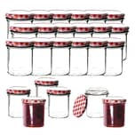 BigDean 24x Einmachgläser 350 ml für Pasteurisierung TO 82 - Made in Germany - Marmeladengläser mit Schraub-Deckel Karo-Muster - Einmachgläser - Honiggläser - Als Gastgeschenk