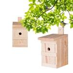 BigDean 2x Nistkasten für Meisen & Kleinvögel - Vogelhaus aus Massivholz - 27x17x17cm - Brutkasten handgemacht in Europa - Meisenkasten wetterfest mit Einflugloch 28mm